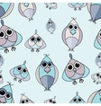 Blue and purple cute owl seamless pattern vector image