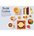 Traditional swiss cuisine dinner dishes vector image