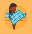 woman holding solar panel vector image