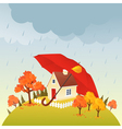 House under umbrella vector image