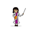 Professional teacher woman cartoon figure vector image