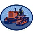 Farmer driving vintage tractor vector image vector image