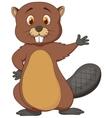 Cute beaver cartoon waving vector image vector image