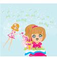 little girl reading fairy tales vector image