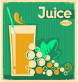 vintage poster of grape juice on old paper vector image vector image