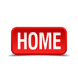 Home red 3d square button on white background vector image