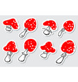 amanita tags set cute mushroom labels collection vector image
