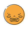 color kawaii head with cute disgusted face vector image