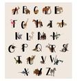 Cute animal alphabet set for kids vector image