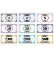 Set of banknotes for playing board games monopoly vector image