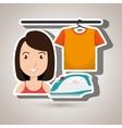 woman cartoon ironing hang tshirt vector image