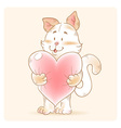 Card with smiling toy cat holding heart vector image vector image