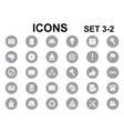 black and white round icons vector image vector image