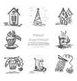 Christmas hand drawn sketch icons on white vector image