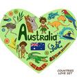 Australian symbols in heart shape concept vector image