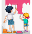 Two boys painting the wall in pink vector image