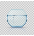 Realistic glass fishbowl aquarium with water on vector image