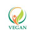 vegetarian leaf people logo vector image