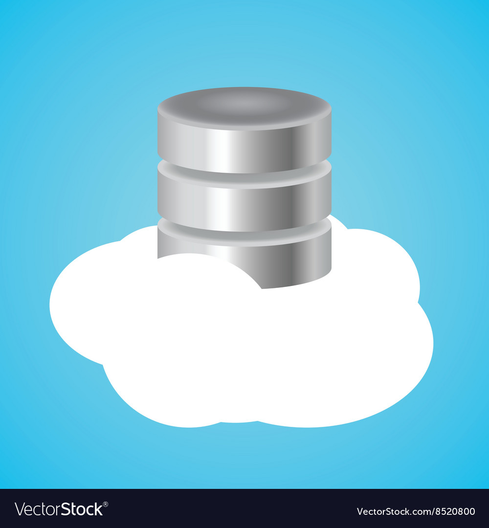 Cloud database with clouds and data base vector