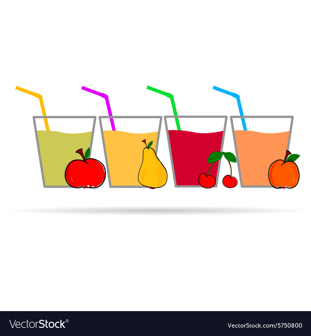 Fruit with glass vector