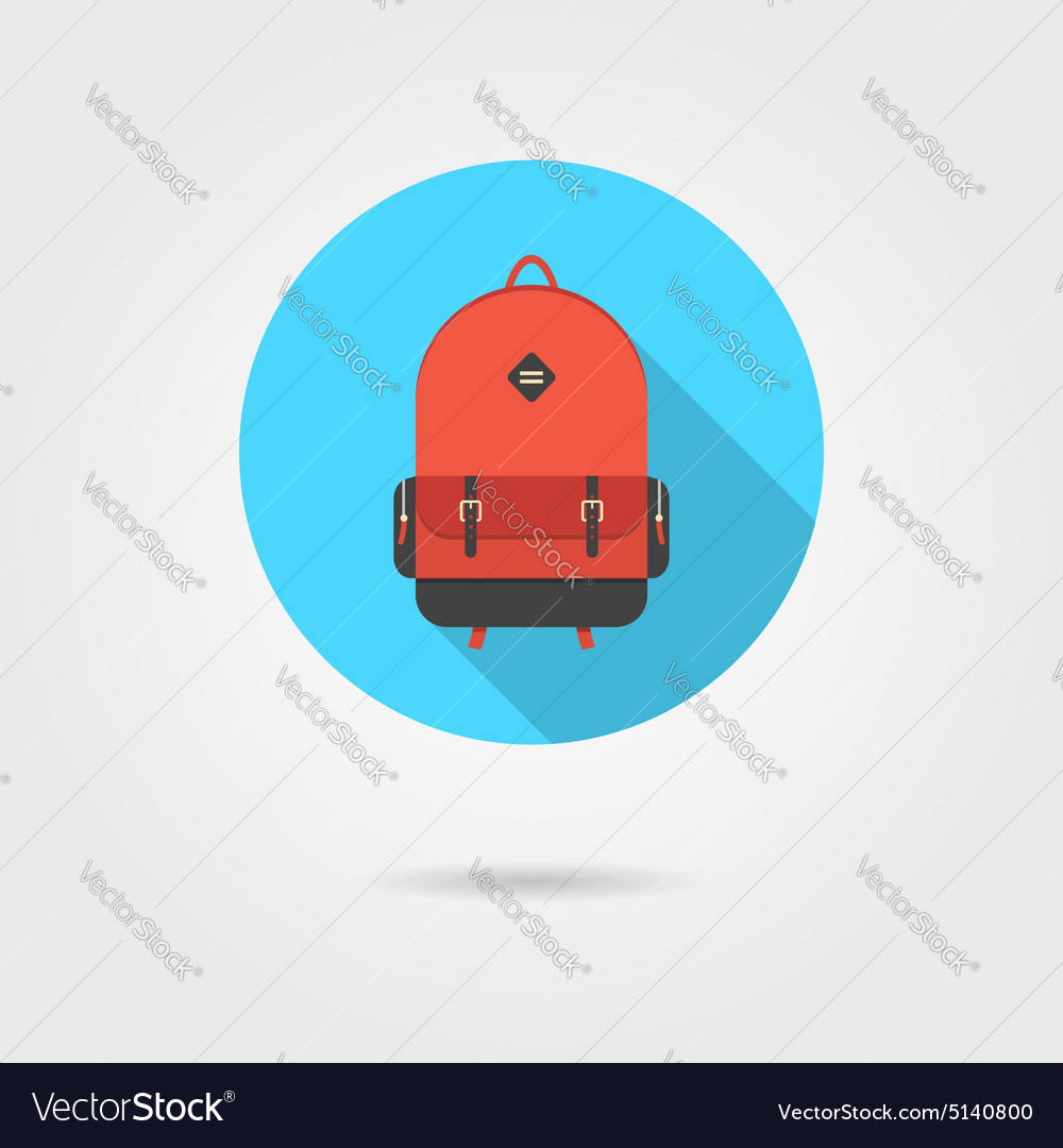 Red backpack in blue circle with shadow vector