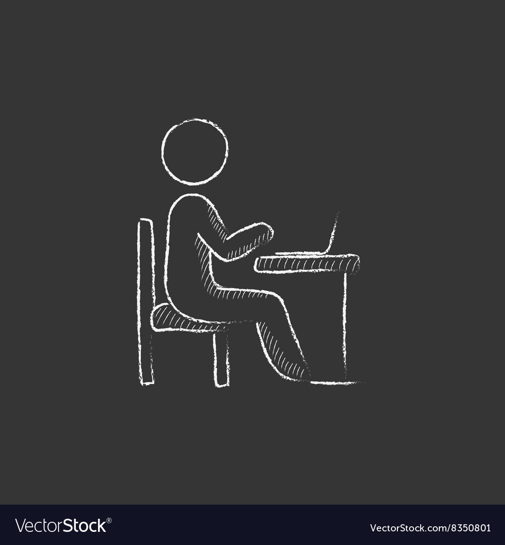 Businessman working at his laptop drawn in chalk vector