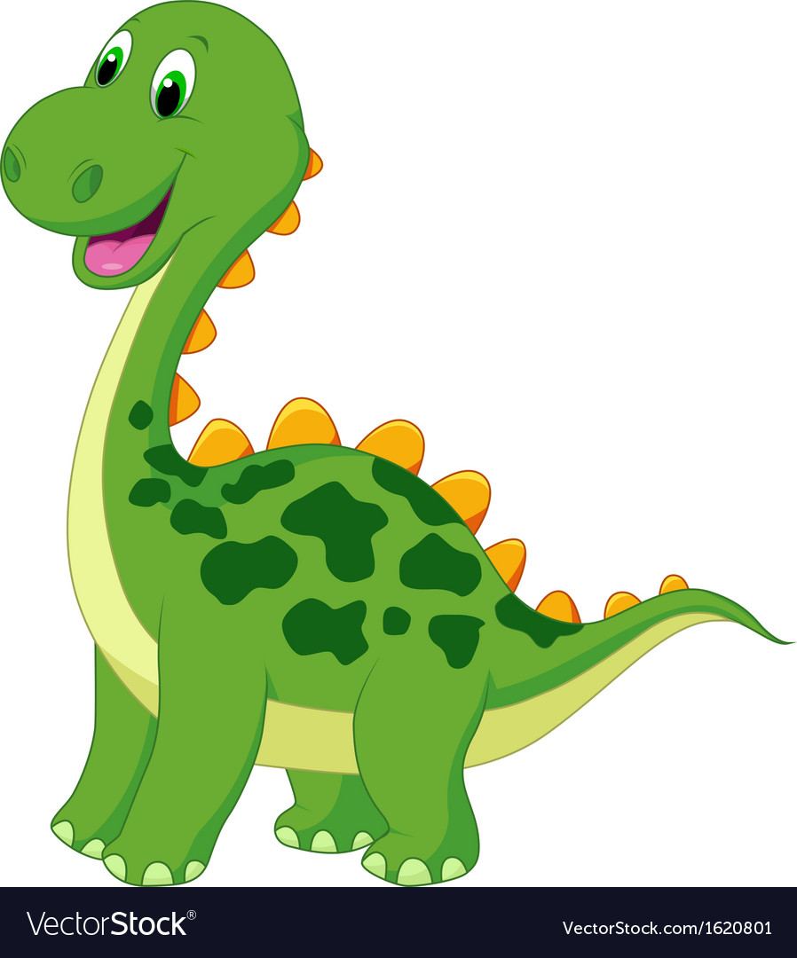 Cute green dinosaur cartoon vector