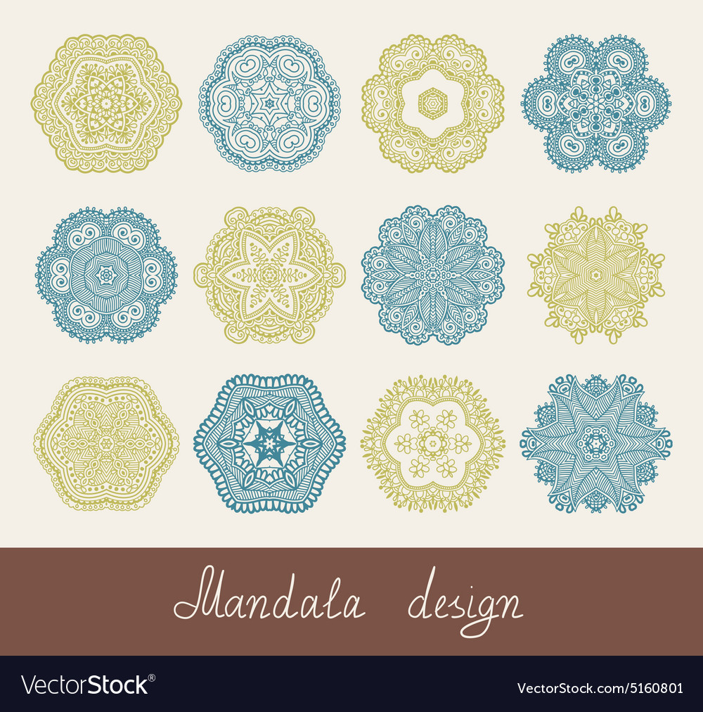 Set of 12 mandala design circle ornament vector