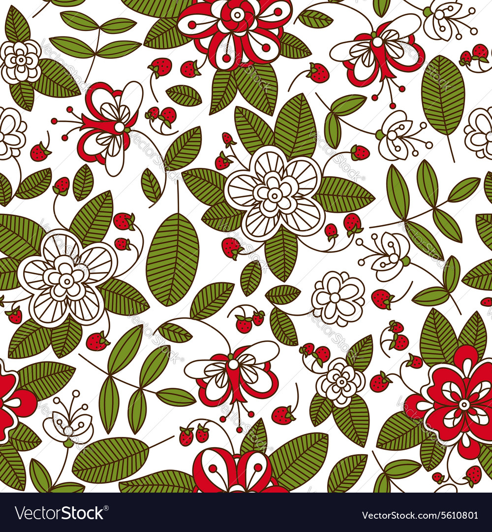 Strawberry fruits and plants seamless pattern vector