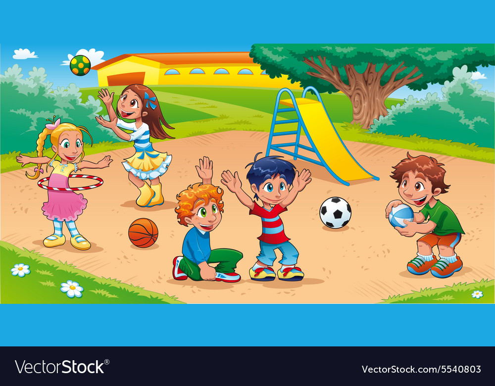 Kids in the playground vector