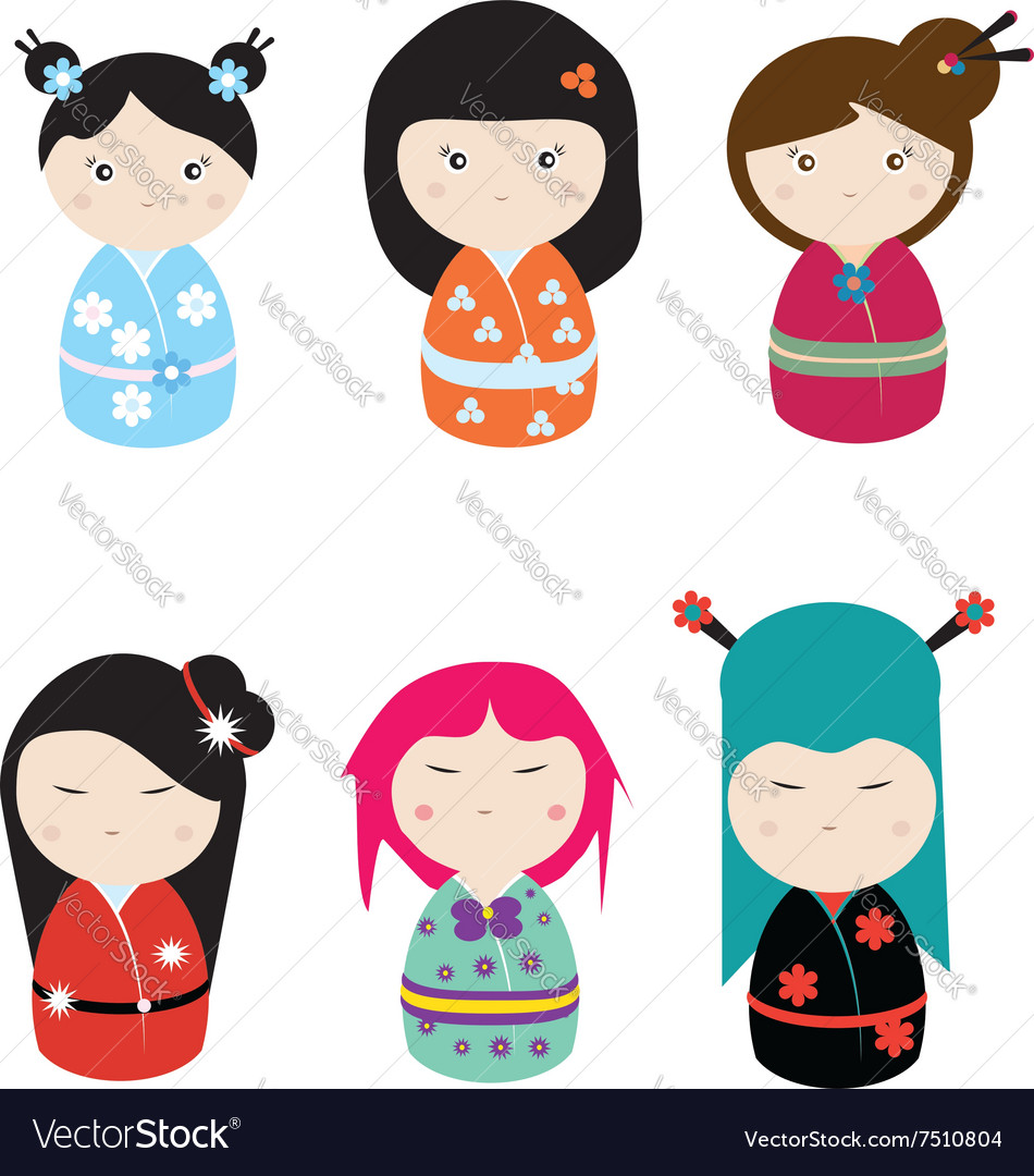 Kawaii kokeshi set vector