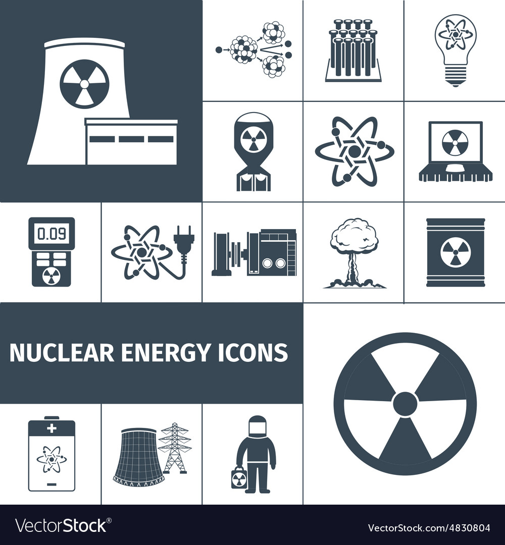 Nuclear energy icons set black vector