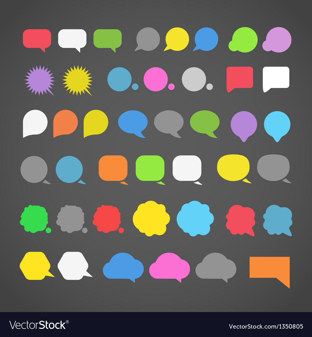 Abstract color speech clouds silhouettes vector