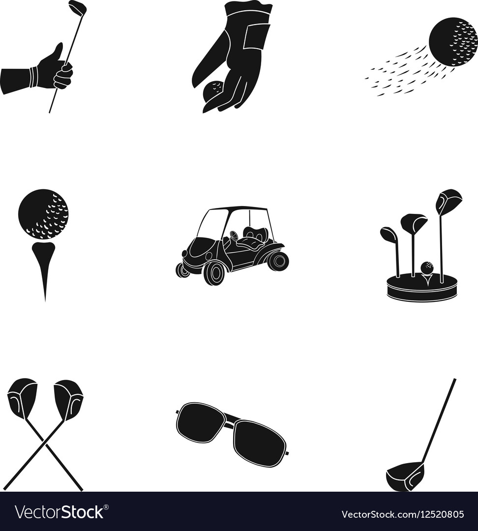 Golf club set icons in black style big collection vector