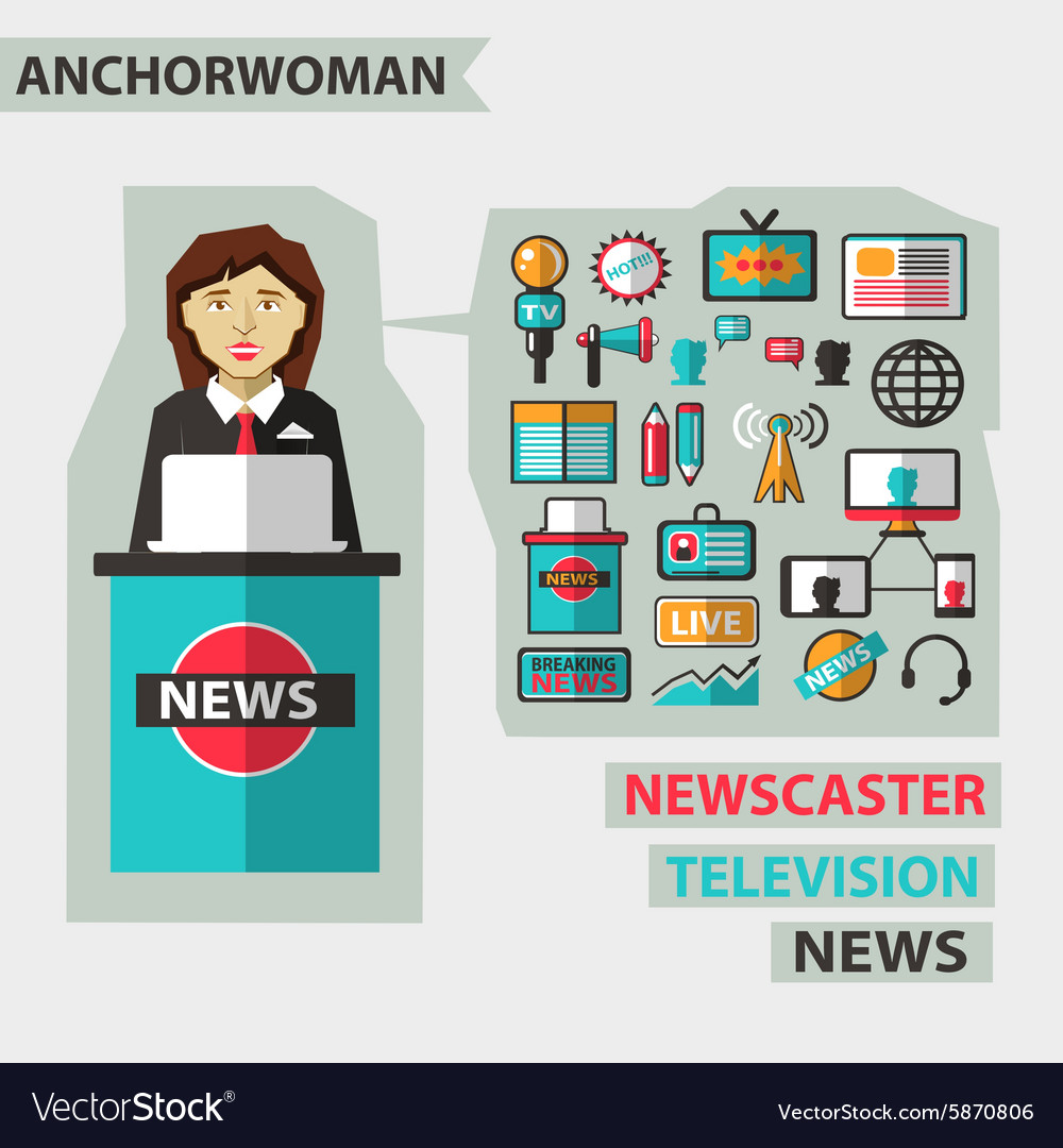 Profession of people flat infographic anchorwoman vector