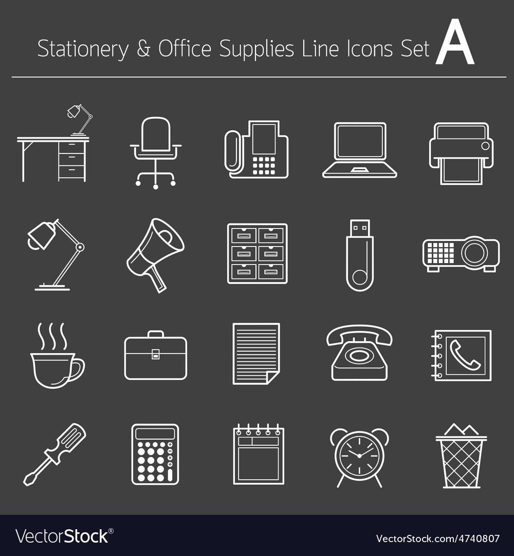 Office supplies and stationery line icons set vector