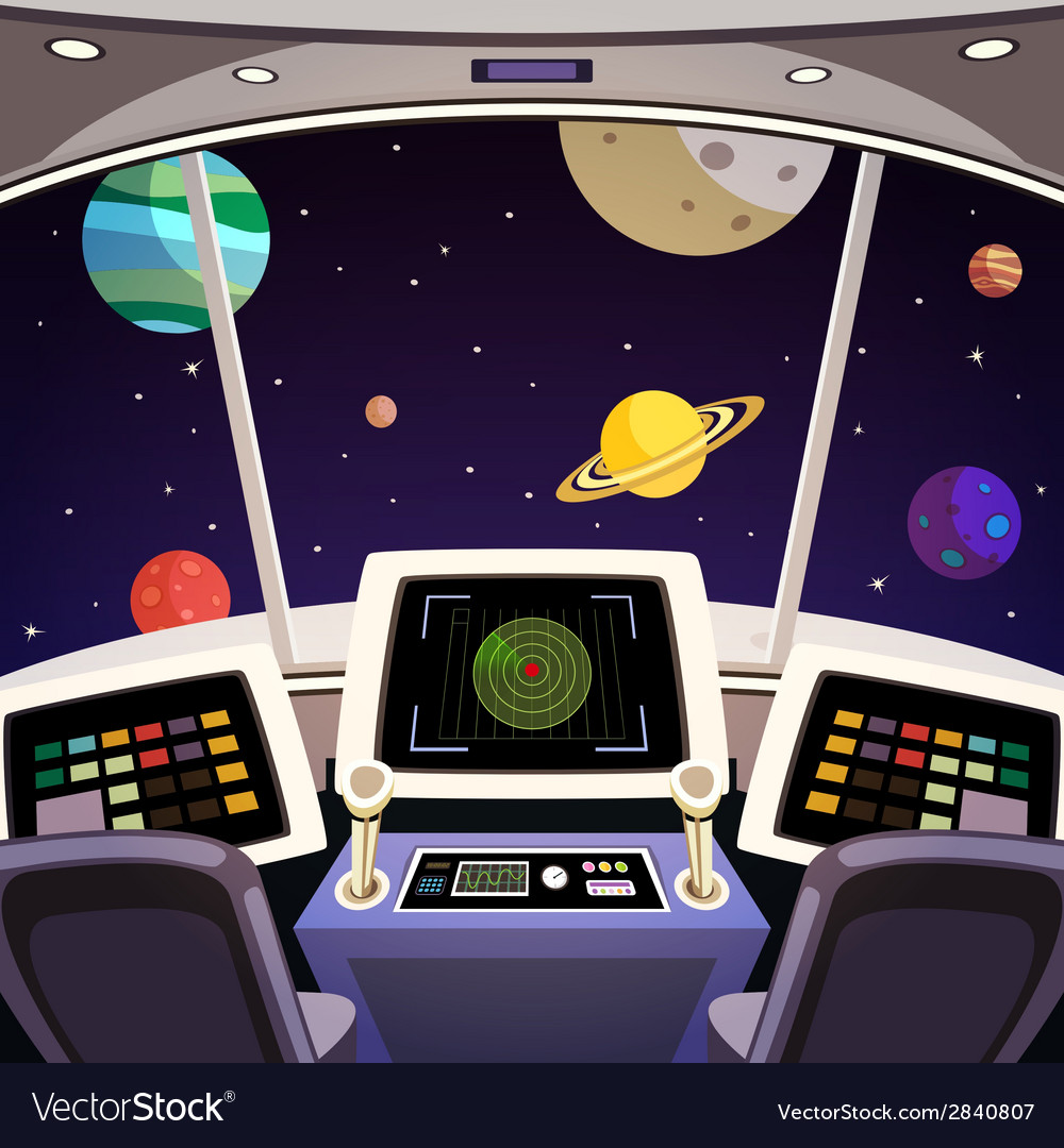 Spaceship cartoon interior vector