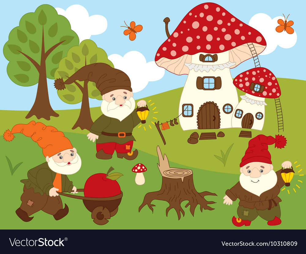 Forest gnomes set vector