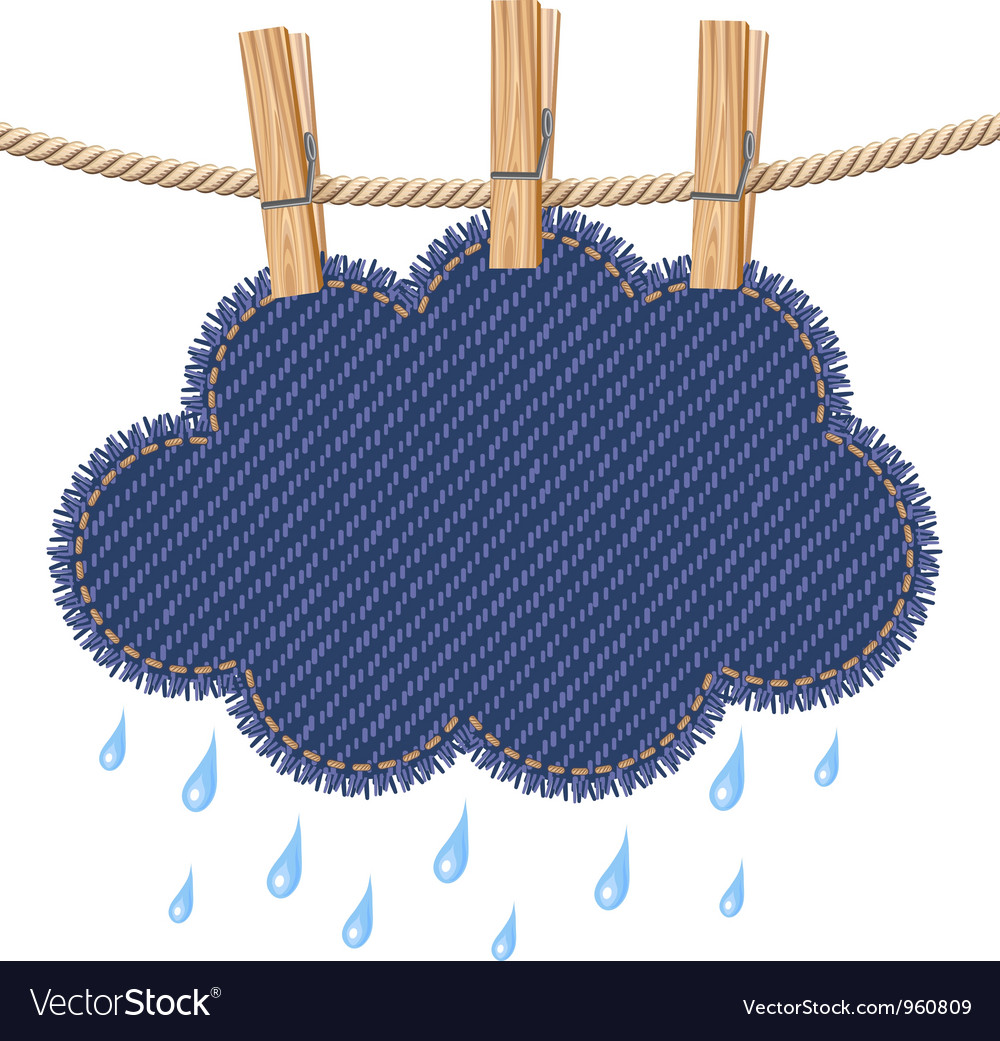 Rain cloud on a clothesline vector
