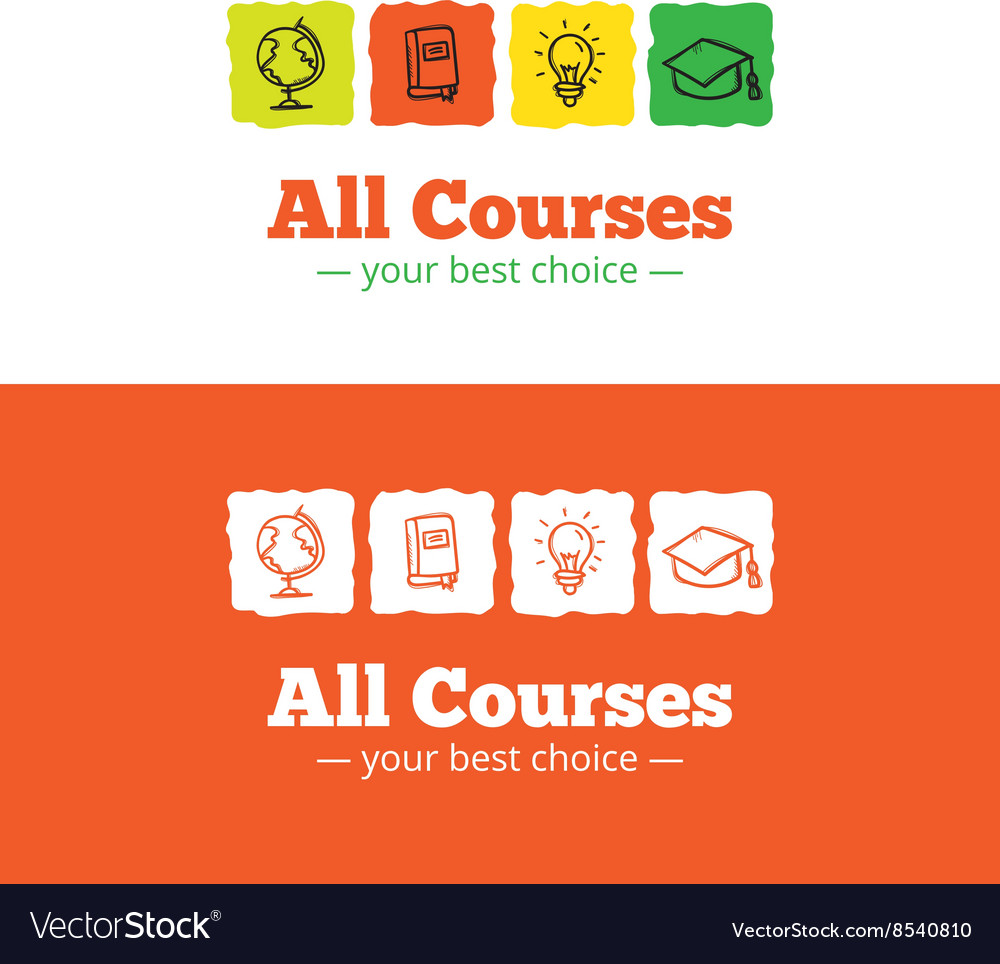 Educational logo in doodle style sketchy vector