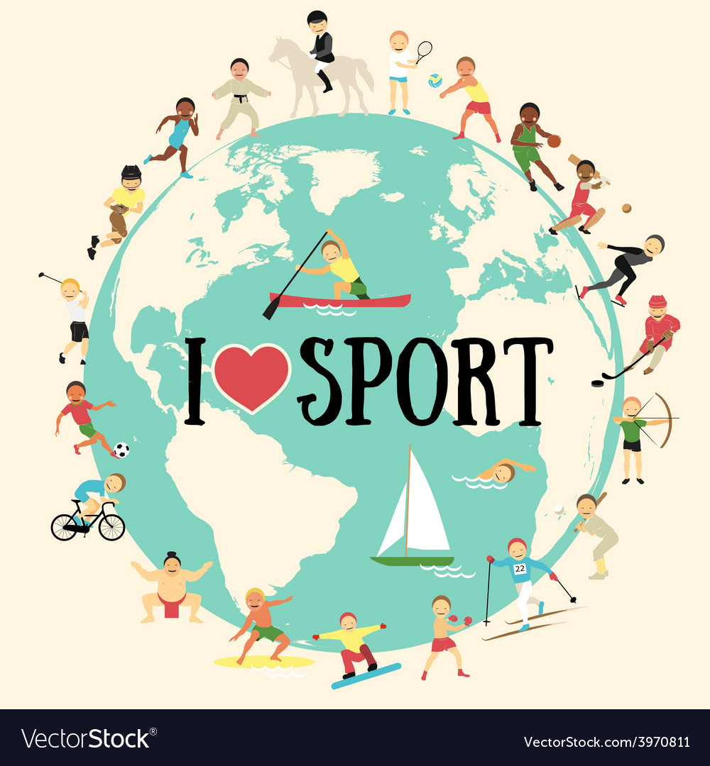 Cartoon map with sportsmen vector