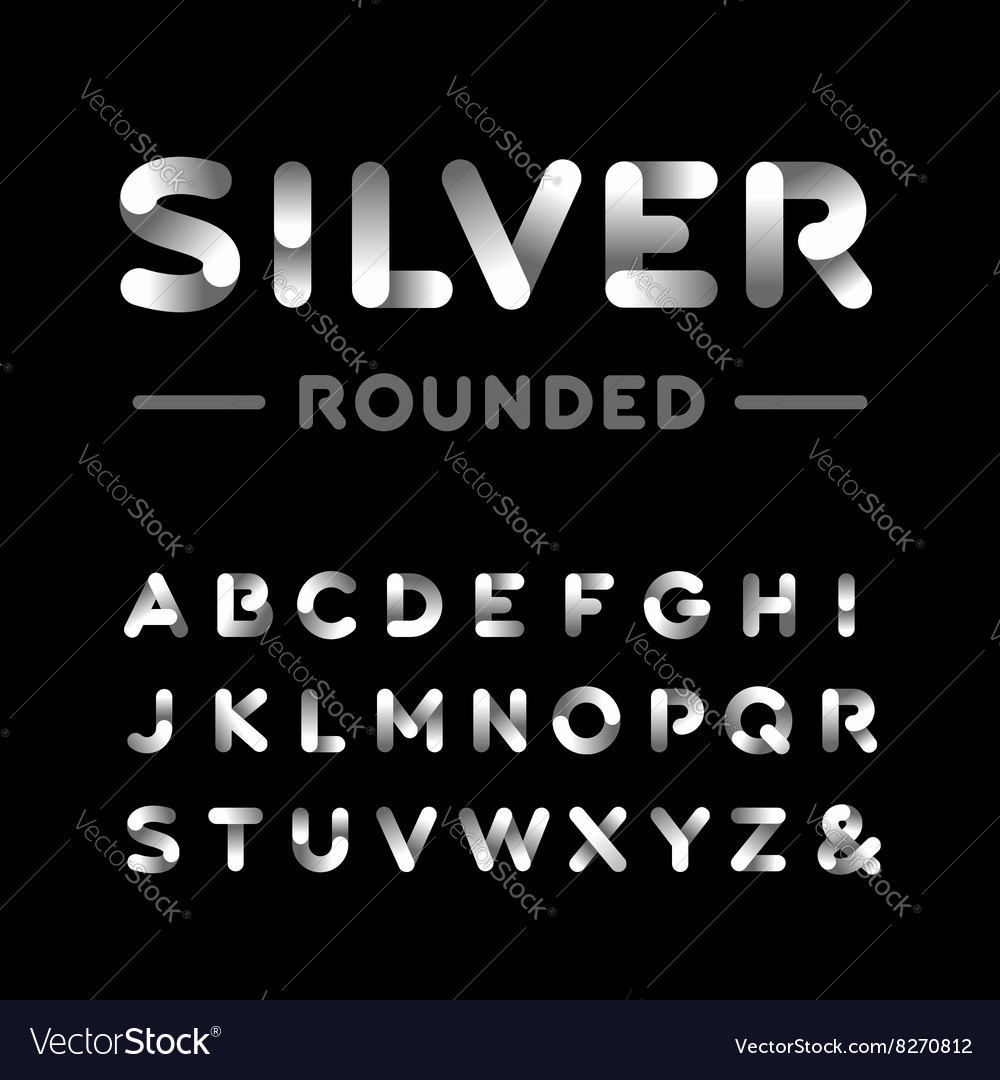 Silver rounded font alphabet with chrome effect vector