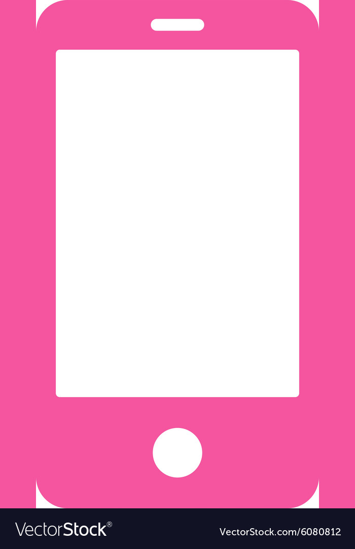 Smartphone flat pink color icon vector