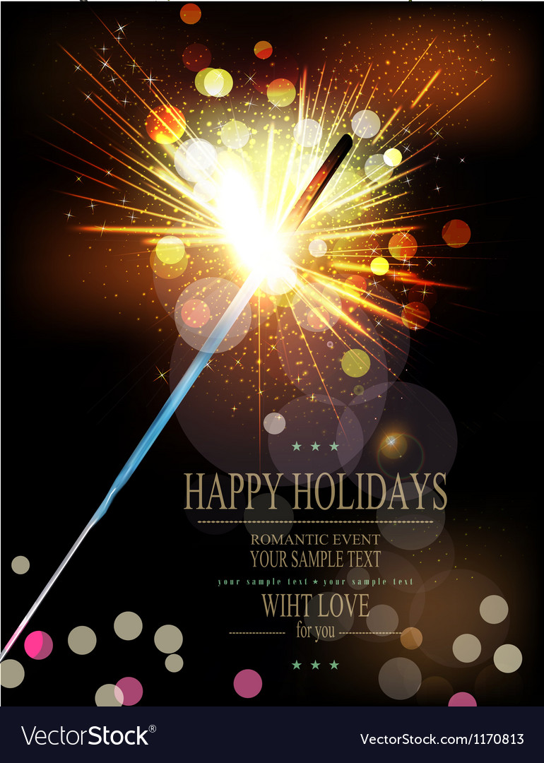 Holiday background with lit sparklers vector