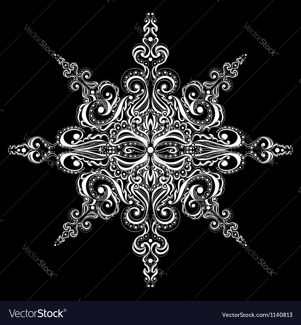 Ornamental white snowflake vector