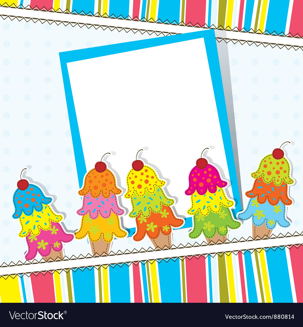 Ice cream card template vector