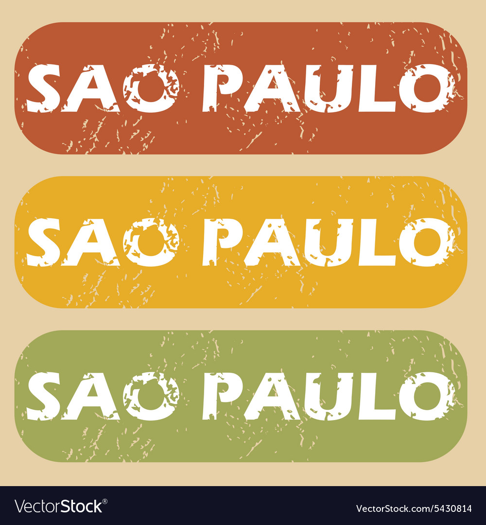 Vintage sao paulo stamp set vector