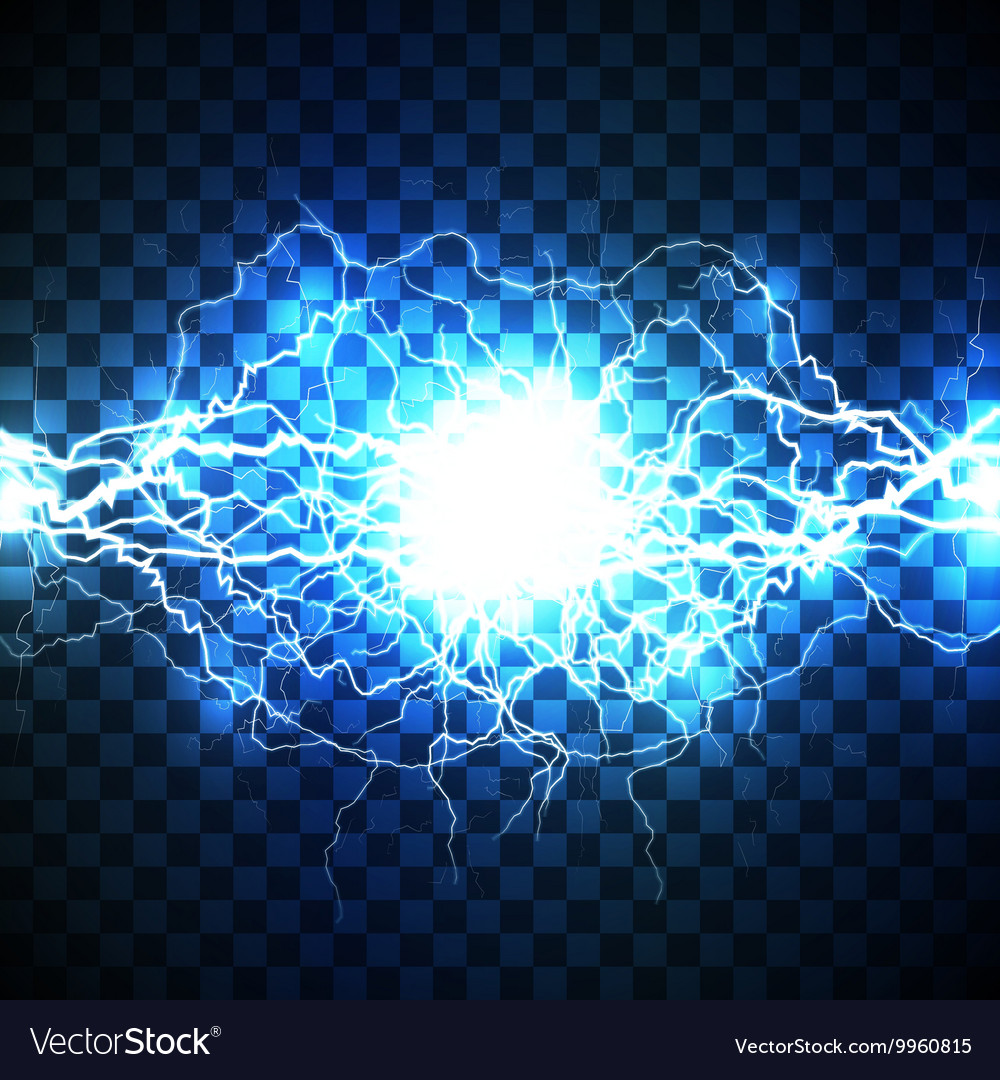 Realistic lightning bolt on blue background vector
