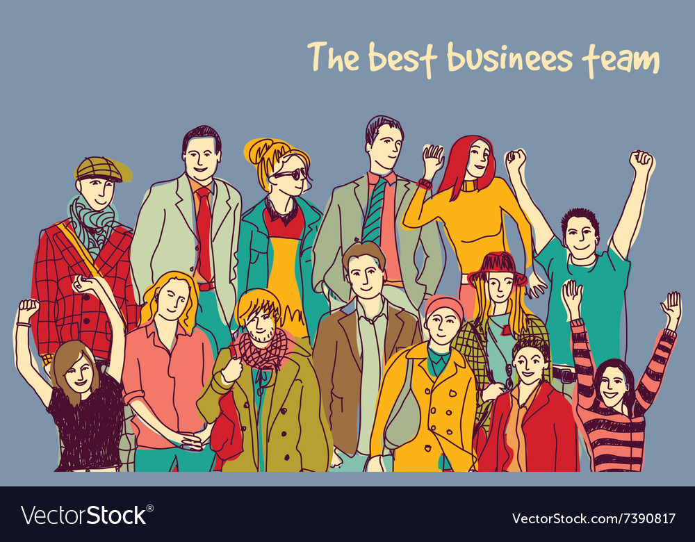 Best business team group happy color people vector
