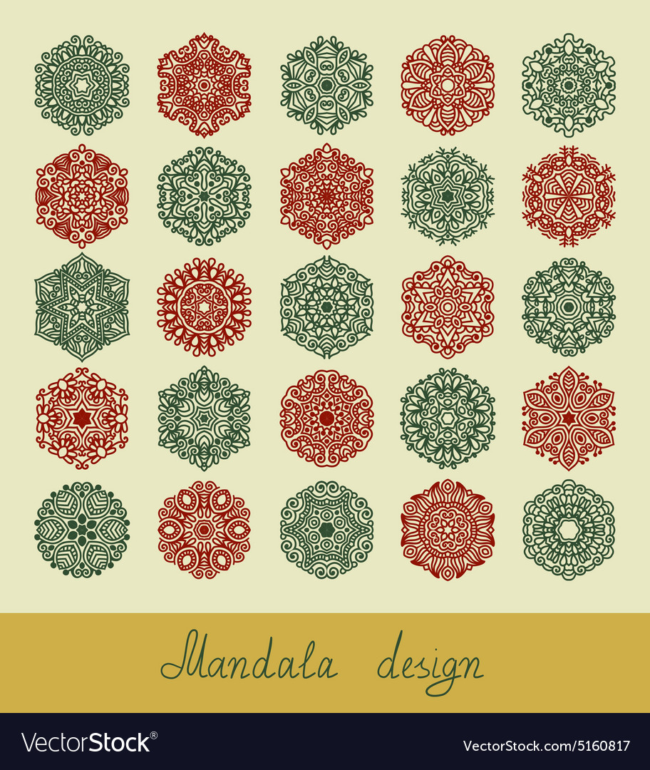 Set of 25 mandala design circle ornament vector